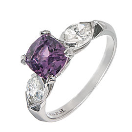 Platinum with Diamond and Purple Sapphire Engagement Ring Size 6.5