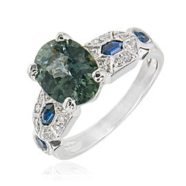 Platinum with Diamond and Sapphire Engagement Ring Size 5.5