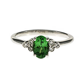 14K White Gold Vivid Green Tsavorite Diamond Ring Size 6.75