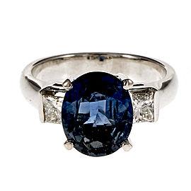 14K White Gold Blue Oval Sapphire Diamond Ring Size 6.5