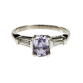 Platinum Light Purple Sapphire & Diamond Engagement Ring Size 7