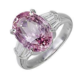 Platinum with Purplish Pink Sapphire & Diamond Engagement Ring Size 6