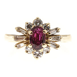 14K Yellow Gold 0.70ct Oval Ruby and Diamond Ring Size 6.25