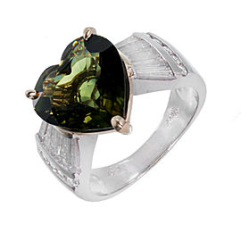 Platinum & 18K Yellow Gold Green Sapphire Heart Shape & Diamond Engagement Ring Size 6.5