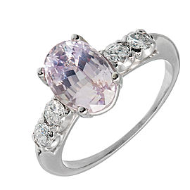 Platinum Light Pink Sapphire & Diamond Engagement Ring Size 6.5
