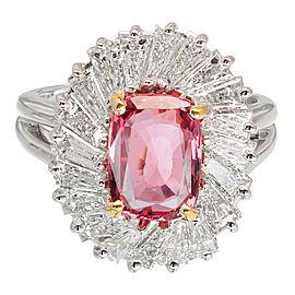 Platinum Pink Sapphire & Diamond Halo Ring Size 6