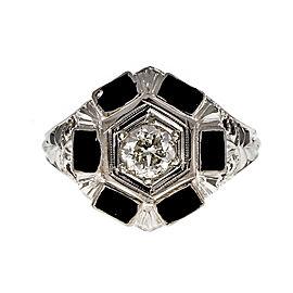 18K White Gold Art Deco Black Enamel Diamond Ring Size 5.25