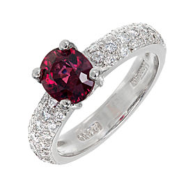Platinum with Red Spinel & Diamond Ring Size 6.25