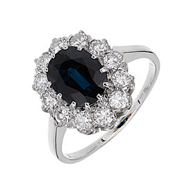 18K White Gold Blue Sapphire & Diamond Ring Size 8.25