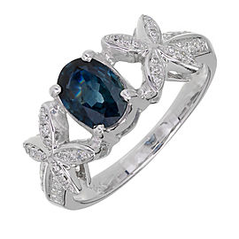 18K White Gold Diamond & 1.00ct Sapphire Ring Size 6.25