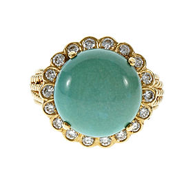14K Yellow Gold Turquoise & Diamond Ring Size 7.5