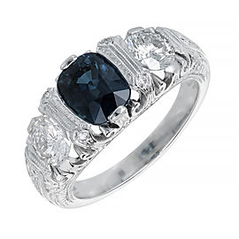 Platinum with Sapphire & Diamond Engagement Ring Size 6.5