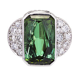 Platinum 7.46ct Tourmaline & Diamond Ring Size 7.25