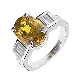 Platinum with Yellow Sapphire & Diamond Engagement Ring Size 6