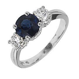 14K White Gold Sapphire Diamond Ring Size 6