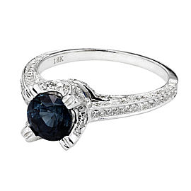 18K White Gold with Sapphire & Diamond Ring Size 7.25
