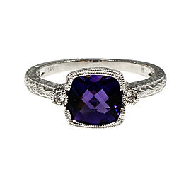 14K White Gold with Amethyst & Diamond Ring Size 6.75