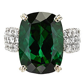 14k White Gold 19.30ct Green Tourmaline Diamond Vintage Ring Size 8.75 1950s