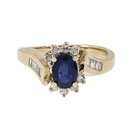 14K Yellow Gold 0.82ct Sapphire, 0.15ct Baguette & 0.16ct Round Diamond Swirl Ring Size 6.75