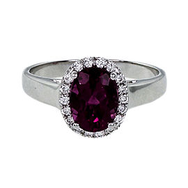 18K White Gold Diamond & Tourmaline Ring Size 6.5