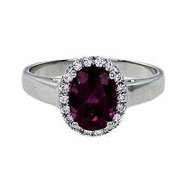 18K White Gold Diamond & Tourmaline Ring Size 6.5