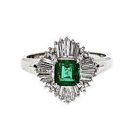 Vintage 1960 Natural Emerald Ballerina Ring Platinum Diamond