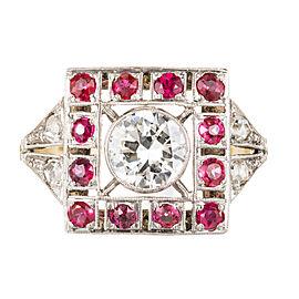 Art Deco 1930 Transitional Cut Diamond Ruby Ring 18k Gold Platinum