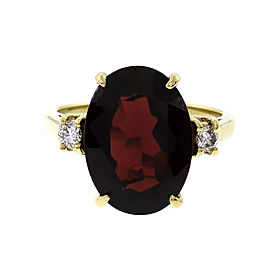 Estate 7.00ct Oval Garnet Ring 18k Gold Diamond