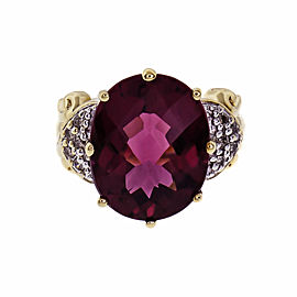 Faceted Oval Pink Tourmaline Ring 18k Gold Diamond 6.00ct