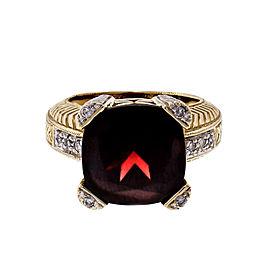 9.00ct Garnet Diamond 2-Tone 14k Gold Cocktail Ring