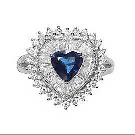 .90ct Sapphire Diamond Cluster Platinum Cocktail Ring