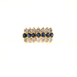 Vintage 14K Yellow Gold with 1.40ct. Diamond & 1.05ct. Deep Sapphire Wire Dome Ring Size 7.25
