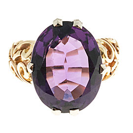 14k Yellow Gold Deep Purple 18.93ct Amethyst Open Swirl Design Ring Size 9.5
