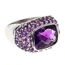Vintage 14K White Gold & 5.76ct Amethyst Side Beads Dome Ring Size 6.25