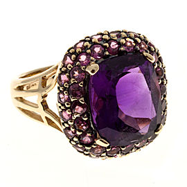 14K Yellow Gold with 6.40ct Amethyst Ring Size 7.25