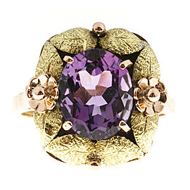 Vintage 18K Rose & Yellow Gold Textured with 3.20ct. Amethyst Ring Size 8.25