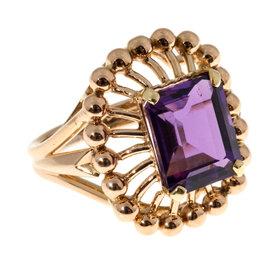Vintage 18k Rose Gold 6.50ct Emerald Cut Amethyst Ring Size 8.5