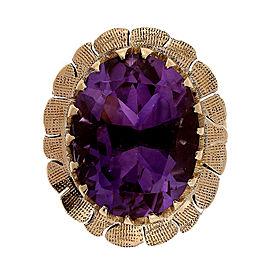 Retro Art Deco 5.50ct Oval Amethyst 14k Rose Gold Ring Size 5