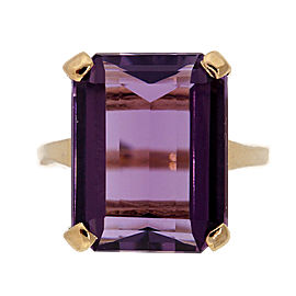14K Yellow Gold with 6.50ct Amethyst Ring Size 6