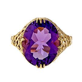 Vintage 14k Yellow Gold 5.57ct Amethyst Filigree Ring Size 8 1950