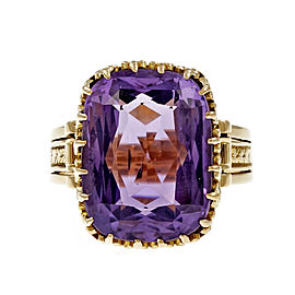 Vintage 14K Pink Gold with 10.00ct Amethyst Ring Size 6