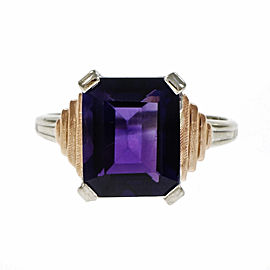 14K Rose & White Gold Amethyst Cut Ring Size 6.75