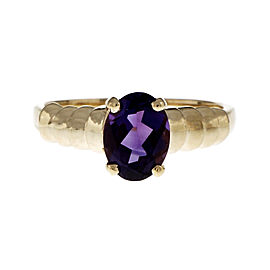 14K Yellow Gold with 1.25ct Amethyst Ring Size 6.75
