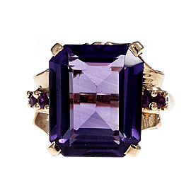 Vintage 14K Rose Gold with 7.00ct Amethyst & 0.18ct Ruby Ring Size 6.5