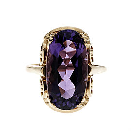 14K Pink Gold Oval Amethyst Ring Size 9.75
