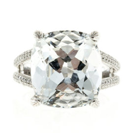Platinum 15.00ct Aquamarine & Diamond Ring Size 6.75