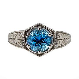 Platinum Filigree 1.00ct Aquamarine Ring Size 6.25