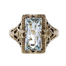Vintage Art Deco 14k White Gold Filigree Natural Emerald Cut Aquamarine Ring Size 4.25