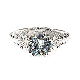 18K White Gold Art Deco Filigree Aqua Ring Size 5.75
