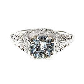 18K White Gold Art Deco Filigree Aqua Ring Size 5.75